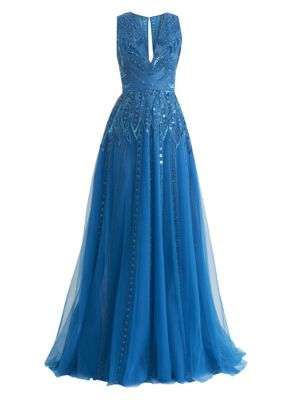 Muromachi Sleeveless Beaded V-Neck Gown