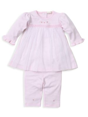 Baby Girl's 2-Piece Embroidered Top & Leggings Set