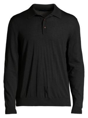 Long-Sleeve Cotton Polo Top
