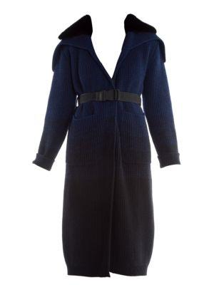 Mink Collar Ombré Cashmere & Wool Duster Cardigan