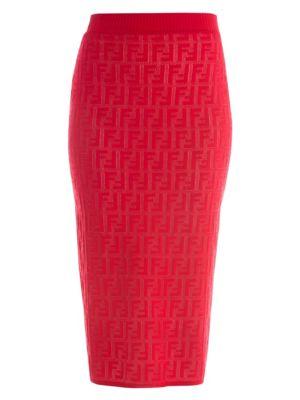 FF Jacquard Logo Knit Midi Skirt
