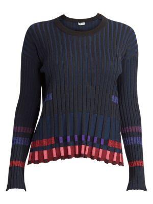 Pleated Crewneck Sweater