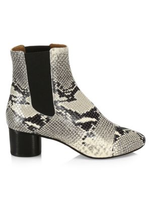 Danae Python-Embossed Leather Ankle Boots