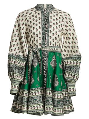 Amari Emerald Linen Multi-Print Dress