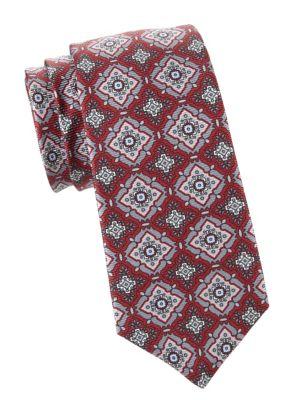 Large Medallion Print Silk Tie