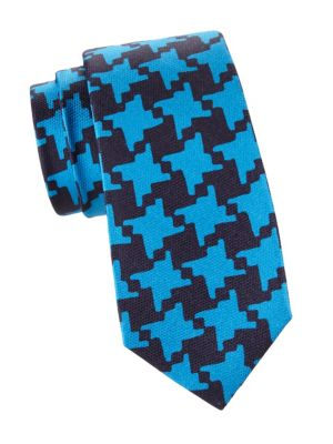 Magnified Houndstooth Silk Tie