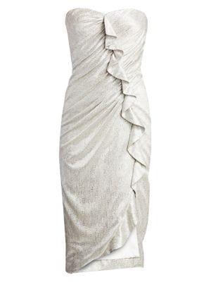 Plisse Lamé Ruffled Bustier Dress