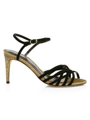 Berthe Metallic & Leather Strappy Heels