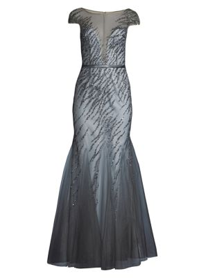 Beaded Illusion Trumpet Gown