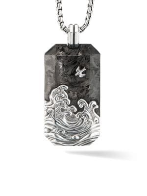 Waves Forged Carbon & Sterling Silver Tag Pendant
