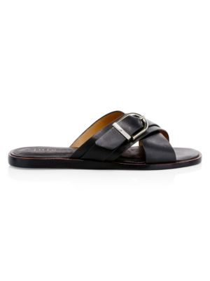 JOIE | Parsin Leather Buckled Slide Sandals | Goxip