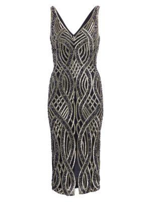 Allover Embellished V-Neck Sheath Dress
