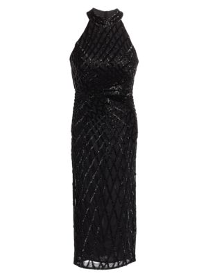 Beaded Halter Sheath Dress