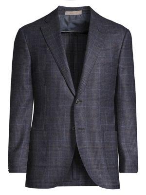 Regular-Fit Leader Plaid Wool Single-Breasted Jacket