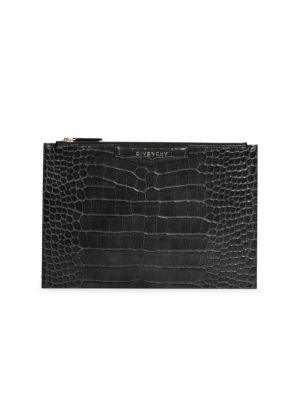 Medium Croc-Embossed Leather Pouch