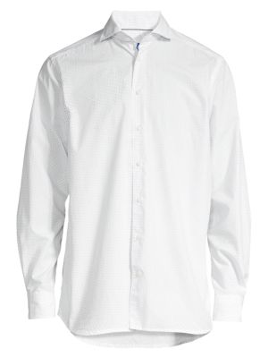 Contemporary-Fit Micro Print Dress Shirt