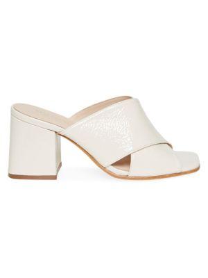 KATE SPADE NEW YORK   Venus Leather Block Heel Mules   Goxip
