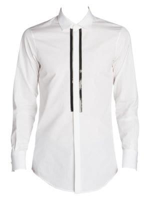Slim Fit Chic Beaded Poplin Sport Shirt