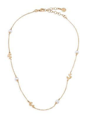 Goldplated Sterling Silver & Faux Pearl Leaf Necklace
