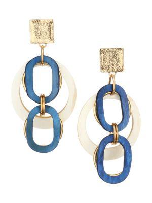 Vila Meriah Horn & Goldtone Linked Open Circle Earrings
