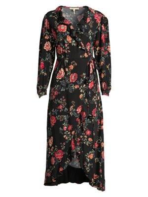 MAJE | Rose Print Midi Wrap Dress | Goxip
