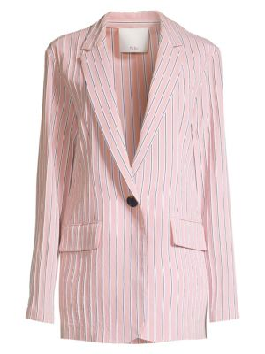 TIBI   Stripe Twilll One-Button Blazer   Goxip