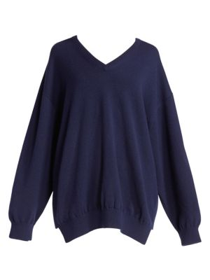 Logo Script Cashmere V-Neck Sweater