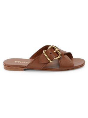 PRADA   Cross Buckle Leather Sandals   Goxip