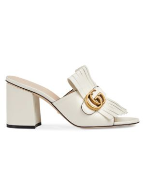 GUCCI   GG Marmont Slide Heeled Sandals   Goxip