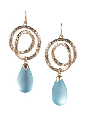 10K Yellow Gold Hammered Coil Link Tear Drop Earrings