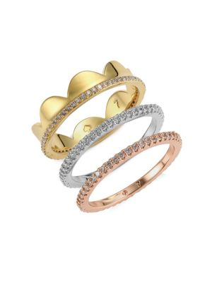 Slender Scallops 3-Piece Pave Band Ring Set