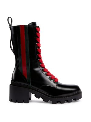 GUCCI   Trip Leather Combat Boots   Goxip