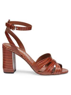 Lizard-Embossed Leather Sandals