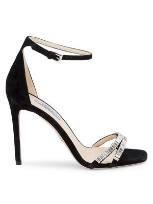 PRADA   Crystal Embellished Satin Sandals   Goxip