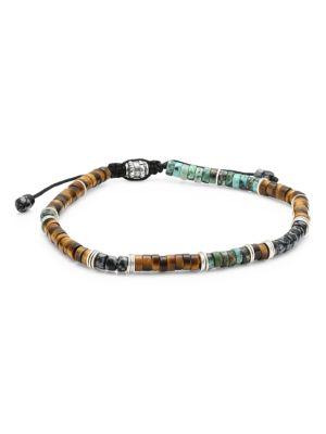 Sterling Silver, Tiger Eye, Turquoise & Snowflake Obsidian Beaded Bracelet