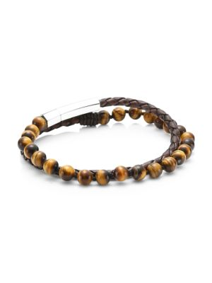 Dakota Stainless Steel, Leather & Tiger Eye Double-Wrap Bracelet
