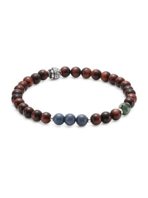 Dakota Sterling Silver, Red Tiger Eye, Dumortierite & Turquoise Beaded Bracelet