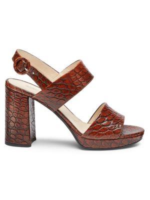 PRADA | Croco-Embossed Stack Heel Sandals | Goxip