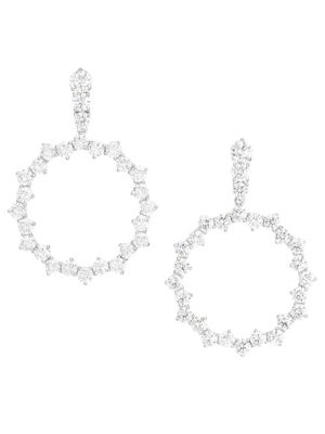 ADRIANA ORSINI | Tivoli Rhodium-Plated Silver & Cubic Zirconia Open Circle Earrings | Goxip