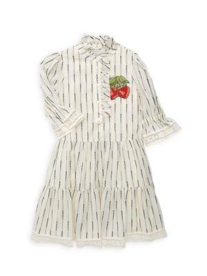 Little Girl's & Girl's Jacquard Stripe A-Line Dress
