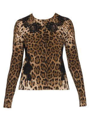 Lace Detail Wool-Blend Leopard Print Cardigan