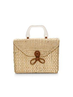 La Scatola Woven Wicker Top Handle Box Bag