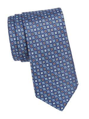 Geometric Woven Silk Tie