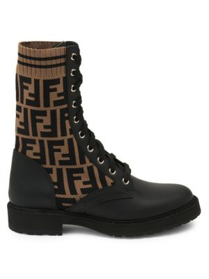 Rockoko Knit Leather Combat Boots