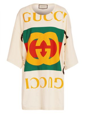 Oversized Logo Tee Beach Cover-Up