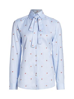 Strawberry Oxford Blouse with Removable Neck Tie