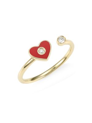 14K Yellow Gold, Diamond & Enamel Heart Ring