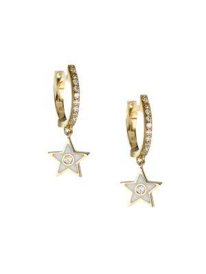 14K Yellow Gold, Diamond & Enamel Star Drop Huggie Hoop Earrings