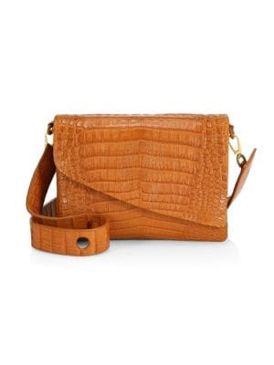 Large Olivia Slanted Flap Crocodile Shoulder Bag
