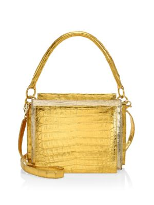 NANCY GONZALEZ | Small Radziwell Two-Tone Metallic Crocodile Top Handle Bag | Goxip